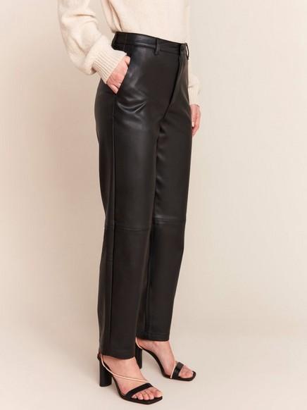 Croppad high waist-byxa i läderimitation Svart