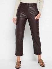 Croppad high waist-byxa i läderimitation Röd