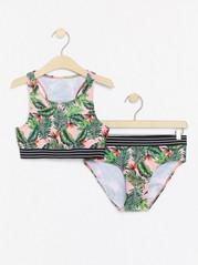 Rosa bikini med tropiskt bladmönster Rosa