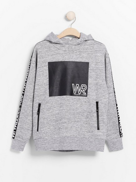 Oversized grey hooded sweater with print and side stripes Grey