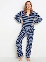 Marinblå randig pyjamas Blå