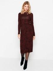Patterned long sleeve dress in lyocell blend jersey Black
