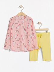 UPF 50+ -suojattu setti, jossa pitkähihainen pusero ja shortsit Vaaleanpunainen