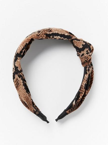 Hiuspanta, jossa käärmeennahkakuviota Ruskea