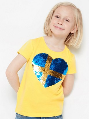 Jersey top with reversible sequins Sweden Yellow