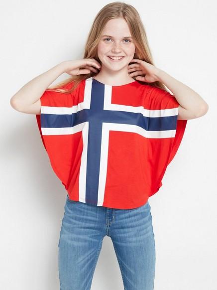 Ponchopusero, jossa Norjan lippu Punainen