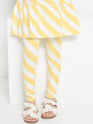 Striped leggings in white and yellow Yellow