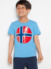 Blue t-shirt with soccer ball in reversible sequins Red