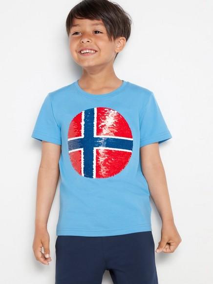 Blå T-skjorte med fotball i vendbare paljetter Rød