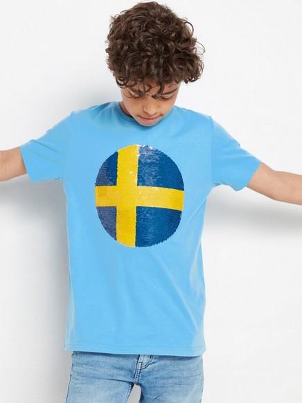 Blå t-shirt med fotboll i vändbara paljetter Gul