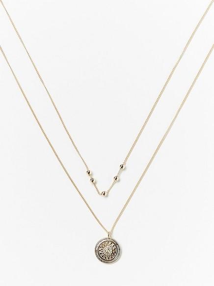 Tvåradigt halsband med myntformat hänge Gul