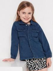 Mørkeblå jakke i denimjersey Blå
