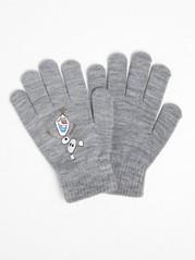 Finstrikkede Frost-hansker med Olaf-trykk Grå