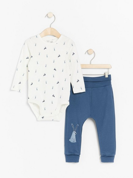 Set with long sleeve bodysuit and trousers with rabbit Blue