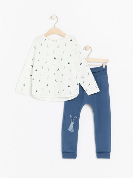 Set with top and trousers with rabbits Blue