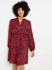 Langermet kjole med hjerteformet mønster Blå