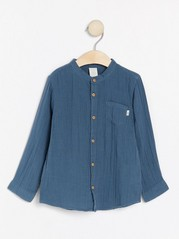 Krageløs bomullsskjorte Blå