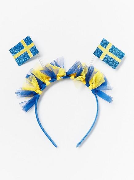 Hiuspanta, jossa Ruotsin liput Keltainen
