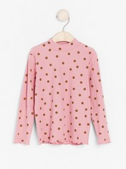 Ribbed long sleeve mock neck top Pink