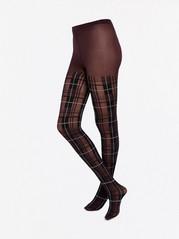 Strømpebukse med skotskrutet mønster, 40denier Rød