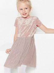 Rosa kjole i fløyel og plissert tyll Rosa