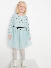 Kjole med prikker og tyllskjørt Havblå
