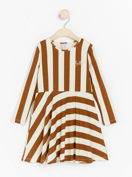 Long sleeve jersey dress with stripes Brown