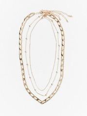 Treradigt guldfärgat halsband  Gul