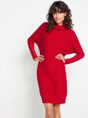 Strikket rød kjole med glitter Rød