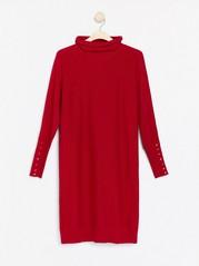 Stickad röd klänning med glitter Röd