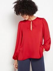 Bluse med smale knytebånd Rød