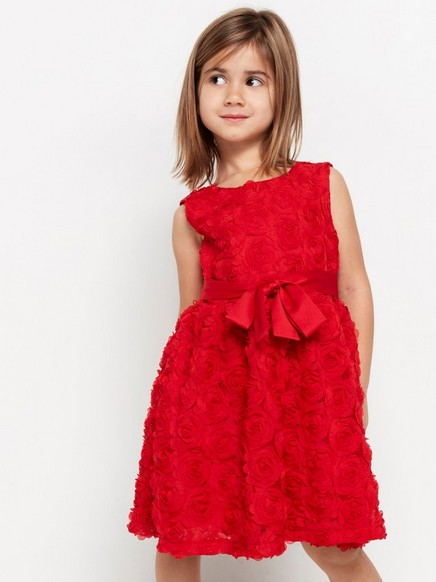 Röd klänning med chiffongblommor Röd