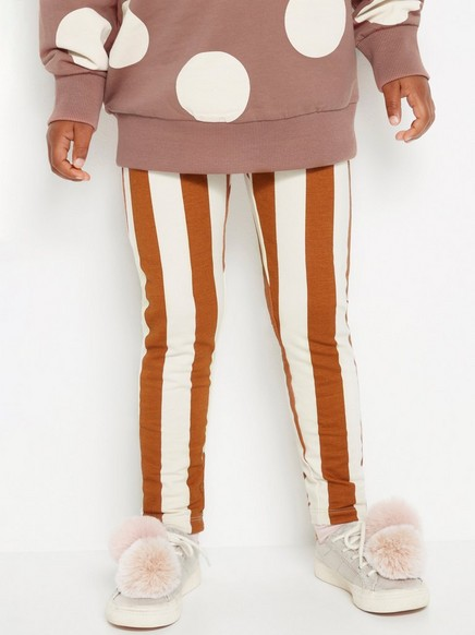 Stripet leggings med børstet innside Brun
