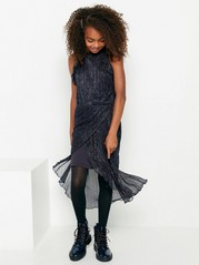 Glittery dark blue chiffon dress Blue