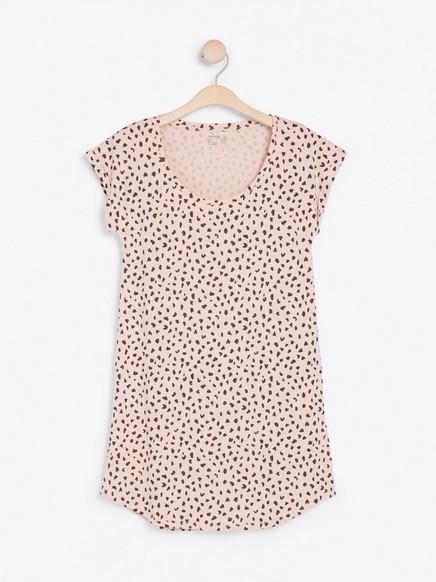 Vzorovaná noční košile Růžová
