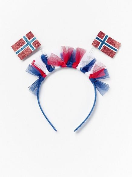 Hårbøyle med norske flagg Rød