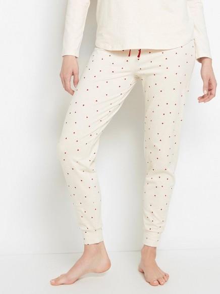 Pyjamasbyxa med röda hjärtan Beige
