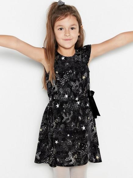 Šaty shvězdami avolánky Černá