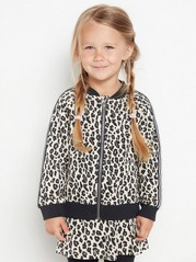 Soft bomber jacket with leopard print Beige