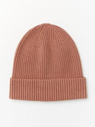 Rib knit cap Pink
