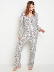 Kuvioitu pyjamasetti Valkoinen