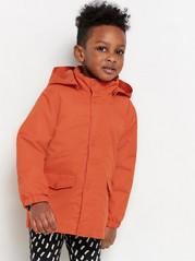 Mørk oransje jakke med dyreansikt på hetten Oransje