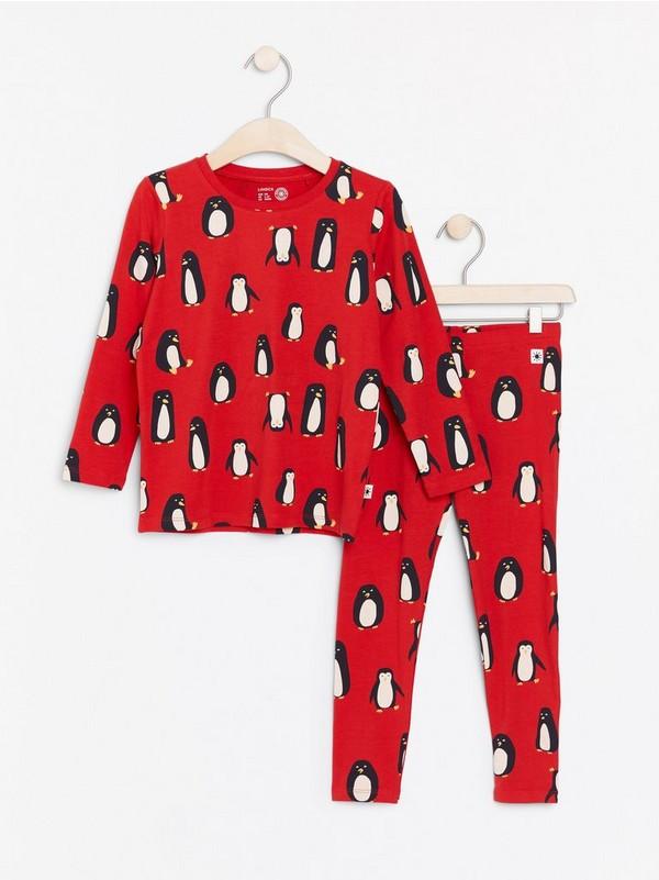 Pusero- ja leggingssetti, jossa pingviinejä Punainen
