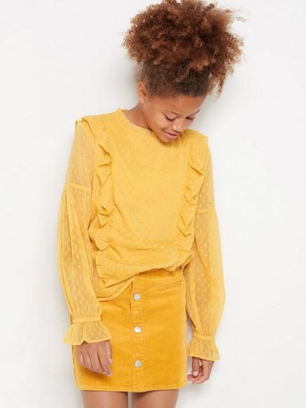 Yellow chiffon flounce blouse Yellow