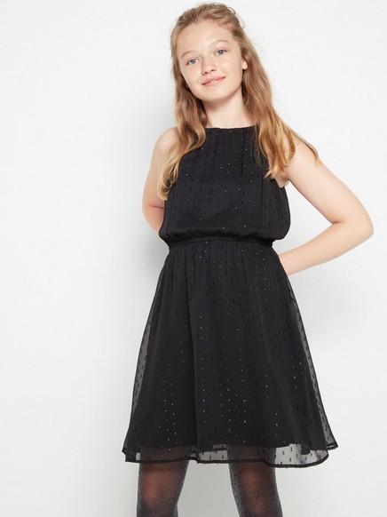 Svart ärmlös klänning med swiss dot-mönster Svart