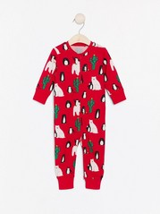 Pyžamo svánočním potiskem Červená