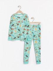 Pyžamo se vzorem Tyrkysová