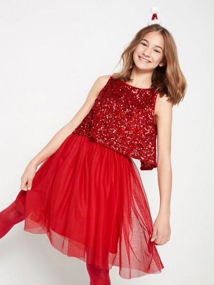 Röd glittrig tyllklänning med paljettopp Röd