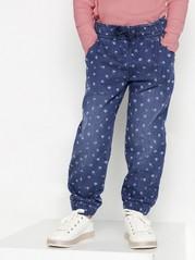 Jeans med ledig passform og blomstermønster Blå