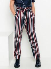 Vid, stripet bukse med paperbag-midje Blå